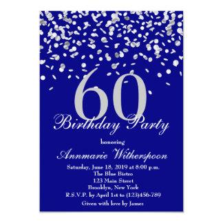 60.o confeti elegante de la plata de la invitación