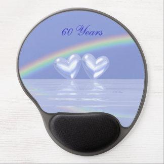 60.o Corazones del diamante del aniversario Alfombrillas Con Gel