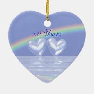 60.o Corazones del diamante del aniversario Ornamento Para Arbol De Navidad