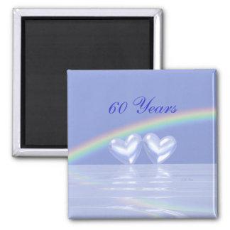 60.o Corazones del diamante del aniversario Imán Cuadrado