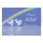 60.o Corazones del diamante del aniversario Felicitación