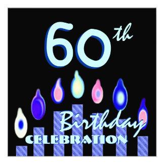 60 o Cuadrado rayado azul de las velas de la fiest Comunicados Personales