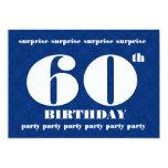 60.o Cumpleaños azul de la SORPRESA y blanco Invitación 12,7 X 17,8 Cm