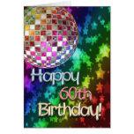 60.o cumpleaños con la bola de discoteca y el arco tarjeta
