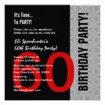 60.o Cumpleaños D844 divertido negro de plata rojo Invitación Personalizada