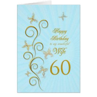 60.o cumpleaños de la esposa con las mariposas de tarjeta de felicitación