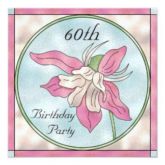 60.o cumpleaños de la orquídea del efecto de invitación 13,3 cm x 13,3cm