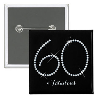 60.o cumpleaños del falso diamante artificial pin cuadrado