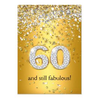 """60.o cumpleaños fabuloso de 60 flámulas de plata invitación 5"""" x 7"""""""
