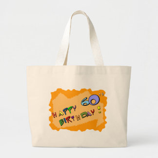 ¡60.o cumpleaños feliz! bolsa tela grande