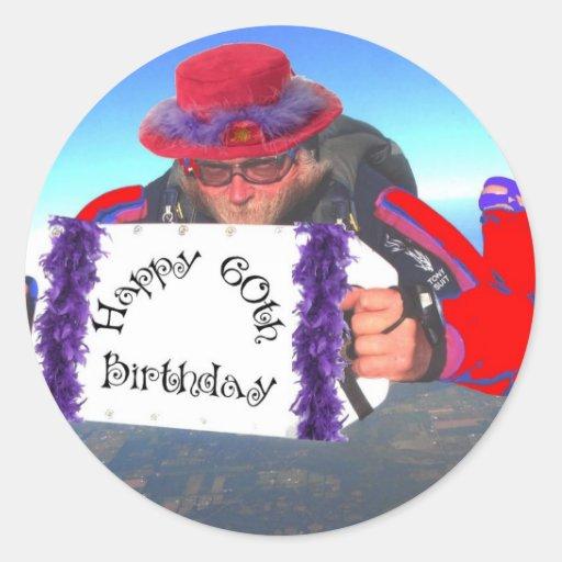 60.o cumpleaños feliz etiqueta redonda