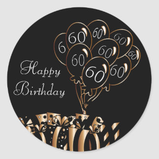60.o cumpleaños feliz pegatina redonda