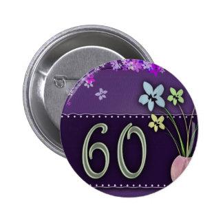 60.o cumpleaños feliz pin redondo de 2 pulgadas