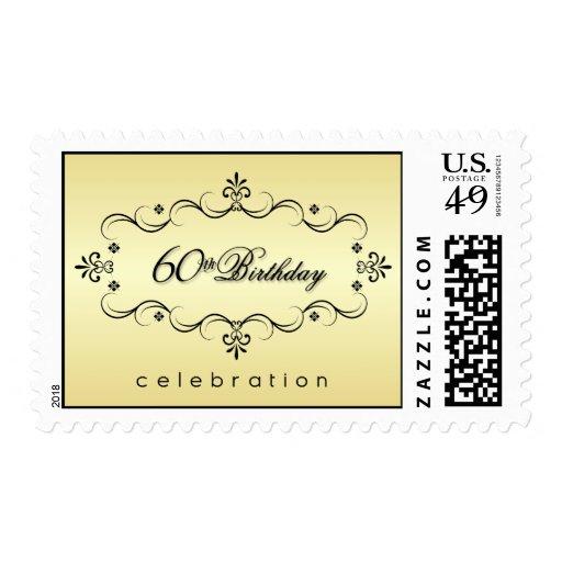 60.o cumpleaños - franqueo elegante de la invitaci