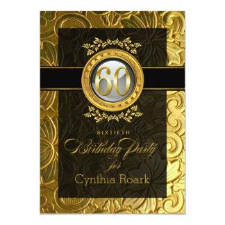 """60.o cumpleaños grabado en relieve encanto invitación 5"""" x 7"""""""