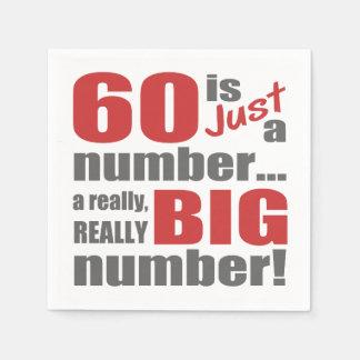 60.o cumpleaños grande servilleta desechable
