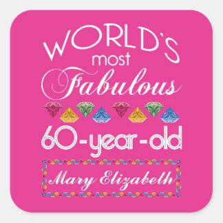 60.o Cumpleaños la mayoría del rosa colorido Pegatina Cuadrada