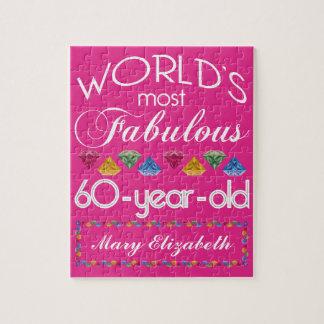 60.o Cumpleaños la mayoría del rosa colorido Puzzle