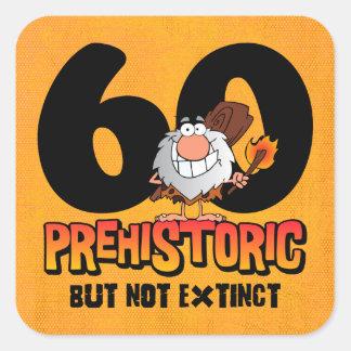 60.o cumpleaños prehistórico calcomanías cuadradas