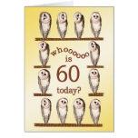 60.o cumpleaños, tarjeta curiosa de los búhos