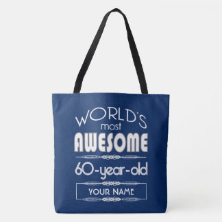 60.o Del cumpleaños de los mundos azul marino Bolsa De Tela