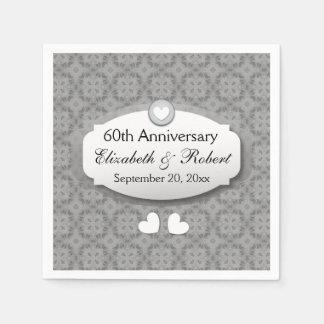 60.o Diamante A10 del aniversario de boda del Servilletas Desechables