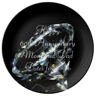 60.o Diamante del aniversario de boda Plato De Cerámica