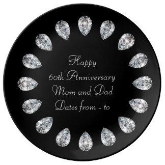 60.o Diamantes del aniversario de boda Platos De Cerámica