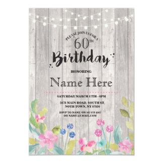 """60.o El 40.o floral de madera rústico de la fiesta Invitación 5"""" X 7"""""""
