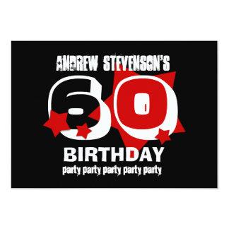 """60.o El ROJO de la fiesta de cumpleaños Invitación 5"""" X 7"""""""