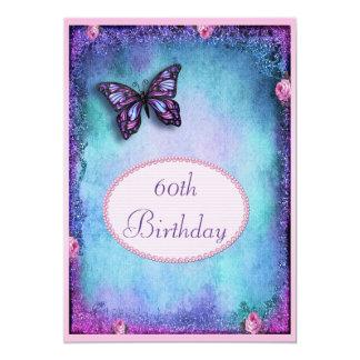 60.o Falso brillo, mariposa, rosas y cordón Invitación 12,7 X 17,8 Cm