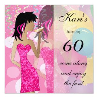 """60.o Fiesta del golpe del cumpleaños Invitación 5.25"""" X 5.25"""""""