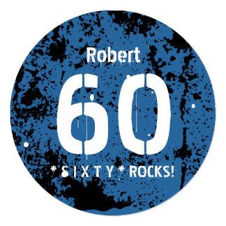 """60.o Fondo azul A01 del Grunge del cumpleaños Invitación 5.25"""" X 5.25"""""""