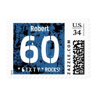 60.o Fondo azul A01 del Grunge del cumpleaños Sello Postal
