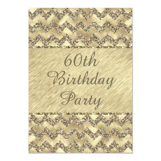 """60.o Galones del brillo del platino del cumpleaños Invitación 5"""" X 7"""""""