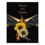 60.o Girasol negro del amarillo del oro del cumple Anuncios