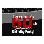 60.o Horizontal blanco del negro del cumpleaños de Comunicado Personalizado