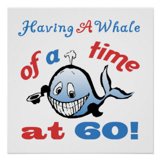 60 o Humor del cumpleaños ballena Impresiones