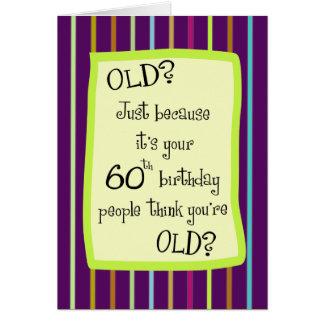60.o Humor rayado del cumpleaños Tarjeta De Felicitación