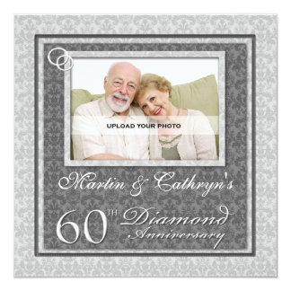 60.o Invitación de encargo de la foto del Invitación 13,3 Cm X 13,3cm