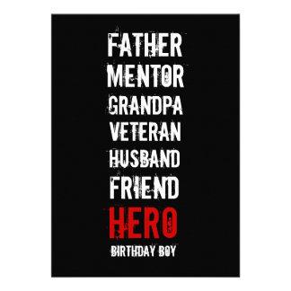 60 o Invitación del fiesta del héroe del cumpleaño