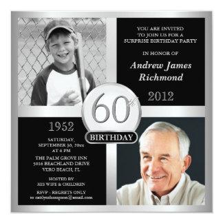 60.o Invitaciones del cumpleaños entonces y ahora Invitación 13,3 Cm X 13,3cm