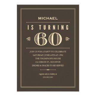 60 o Invitaciones del cumpleaños para los hombres