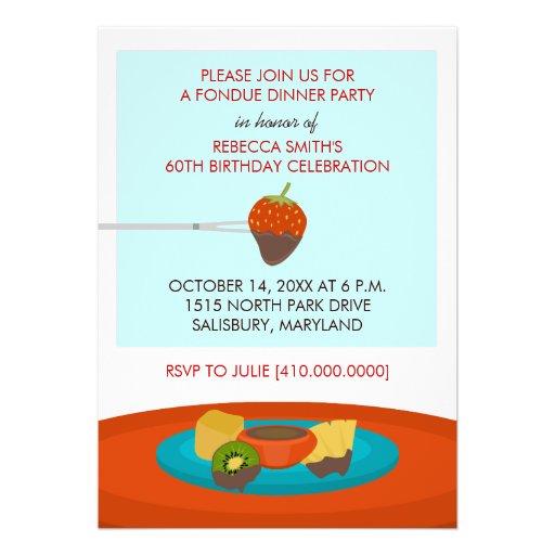 """60.o Invitaciones del fiesta de cena de la """"fondue Comunicados"""
