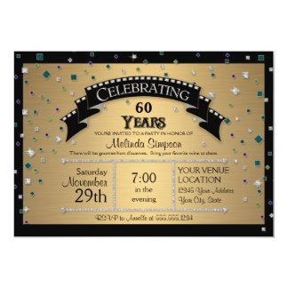 60.o La fiesta de cumpleaños celebra falso confeti Invitaciones Personalizada