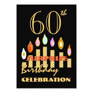 """60.o Las velas del oro de la fiesta de cumpleaños Invitación 5"""" X 7"""""""