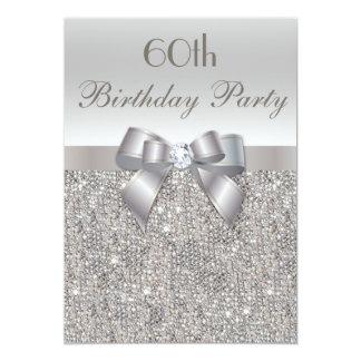 60.o Lentejuelas, arco y diamante de la plata de Invitacion Personalizada