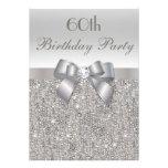 60.o Lentejuelas, arco y diamante de la plata de l Invitacion Personalizada