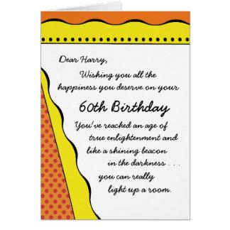 60.o Luz del cumpleaños en la tarjeta