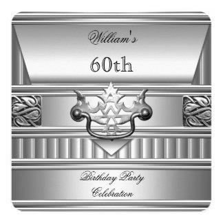 """60.o Metal plateado para hombre elegante 2 de la Invitación 5.25"""" X 5.25"""""""